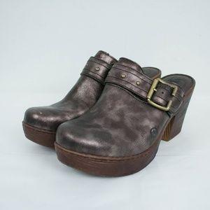 Born Mules Slip On Clogs Heels Metallic Leather